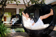 Couple Relaxing Outdoors Royalty Free Stock Image