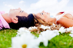 Couple relaxing outdoors Royalty Free Stock Photography