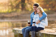 Couple relaxing outdoors Royalty Free Stock Images