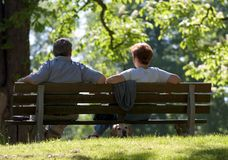 Couple relaxing in Park. In Bad Homburg, near Frankfurt, Germany Stock Image