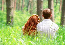Couple relaxing in the park Royalty Free Stock Photo