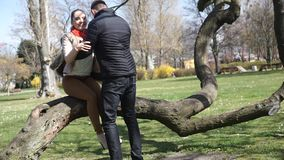 Couple relaxing in park. Happy young couple relaxing outdoor, woman and man walking in park, sitting down on tree stock video