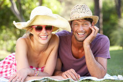 Couple Relaxing In Park Together Royalty Free Stock Photo