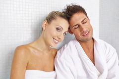 Couple relaxing after sauna Stock Photos