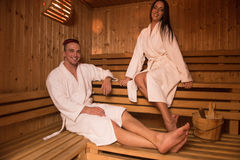 Couple relaxing in the sauna Stock Image