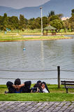 Couple relaxing in the Simon Bolivar Park Royalty Free Stock Photos