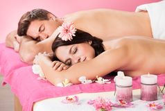 Couple relaxing in spa Stock Image