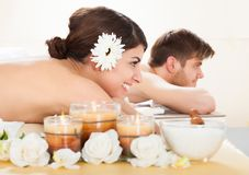 Couple relaxing in spa Royalty Free Stock Image