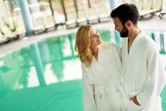 Couple relaxing at wellness spa resort. Happy married couple relaxing at wellness spa resort stock photography