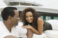 Couple relaxing on yacht Royalty Free Stock Image