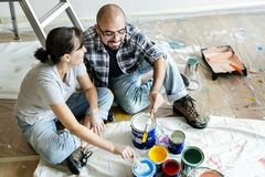 A couple renovating the house Royalty Free Stock Photo