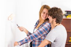 Couple renovating together man standing closely Royalty Free Stock Images