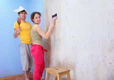 Couple repair room Royalty Free Stock Photos