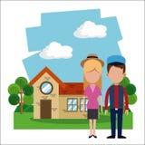 Couple residential house garden. Illustration eps 10 Royalty Free Stock Photo