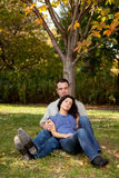 Couple Rest Park Stock Photo
