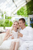 Couple in restaurant Royalty Free Stock Photography