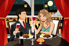 Couple in restaurant vector illustration