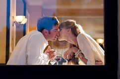 Couple at restaurant Royalty Free Stock Images