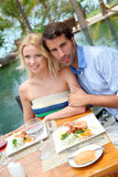Couple in restaurant Stock Photo