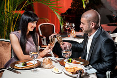 Couple at restaurant royalty free stock image