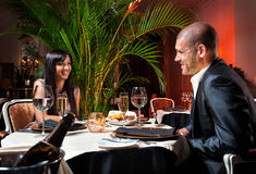 Couple at restaurant Stock Photo