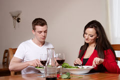 A couple in a restaurant Stock Images