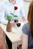Couple is at the restaurant Royalty Free Stock Image