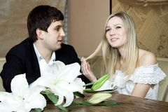 Couple in the restaurant Royalty Free Stock Photos