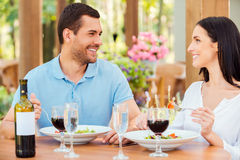 Couple in restaurant. Royalty Free Stock Photo