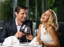 Couple in a restaurant Royalty Free Stock Photography