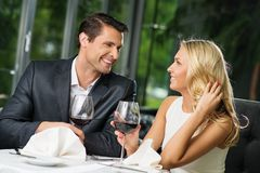 Couple in a restaurant Stock Photo