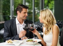 Couple  in a restaurant Stock Photos