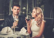 Couple in a restaurant Royalty Free Stock Photos