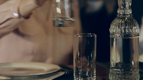Couple in the restaurant stock video