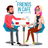 Couple In Restaurant Vector. Friends Or Boyfriend, Girlfriend. Man And Woman. Sitting Together And Drinking Coffee. Couple In Restaurant Vector. Man And Woman Royalty Free Stock Image