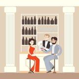 Couple in restaurant. Stock Photos