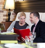 Couple at restaurant Royalty Free Stock Photo