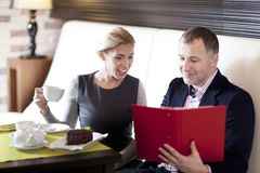 Couple at restaurant Stock Photography