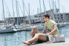 Couple resting on berth Stock Photography