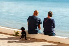 Couple resting with dog royalty free stock image