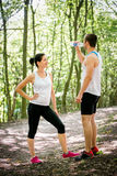 Couple resting after jogging Royalty Free Stock Images