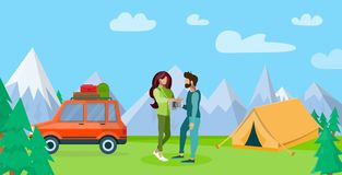 Couple Resting in Mountains Flat Illustration royalty free illustration