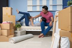 Couple resting in new home royalty free stock photography