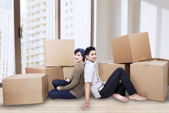 Couple resting at new home Royalty Free Stock Images