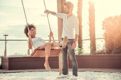 Couple resting outdoors royalty free stock photos