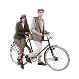 Couple on retro bike Royalty Free Stock Photo