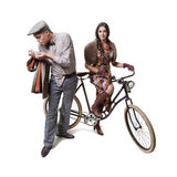 Couple on retro bike Royalty Free Stock Image