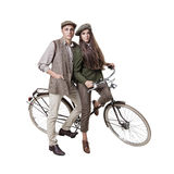 Couple on retro bike Royalty Free Stock Photography
