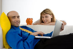 Couple Reviewing the Finances Stock Images