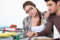 Couple revising together Stock Image